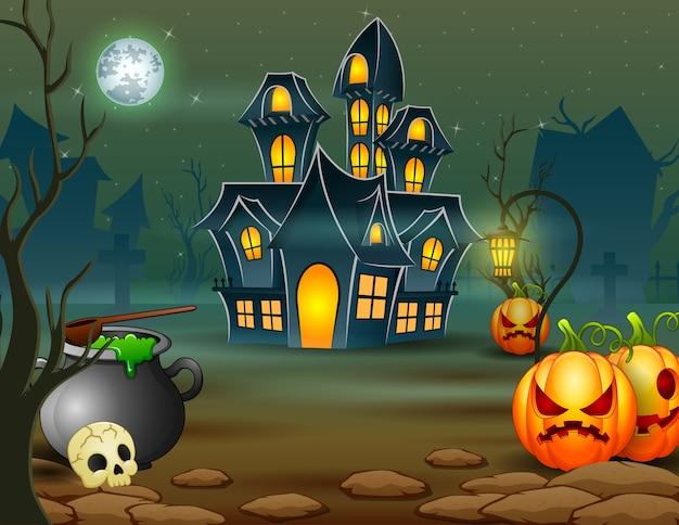 Dia das bruxas da casa assustadora com abóbora e caldeirão verde