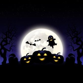 Dia das bruxas dia abóboras sepulturas e árvore morta fantasma
