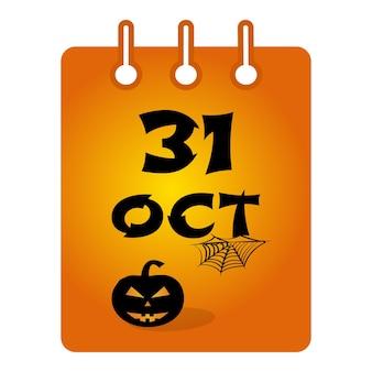 Dia das bruxas do dia 31 de outubro com abóbora e teia de aranha em ilustração vetorial de fundo laranja
