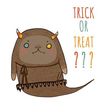 Dia das bruxas, doces ou travessuras com o monstro de halloween bonito.