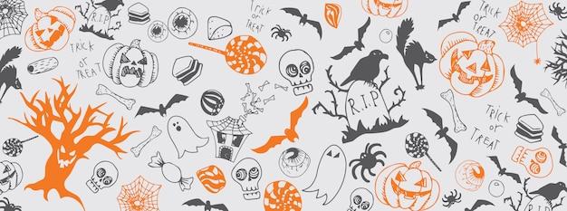 Dia das bruxas doodles banner