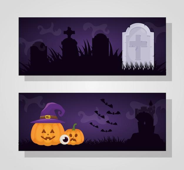 Dia das bruxas escuro com chapéu de abóbora e bruxa