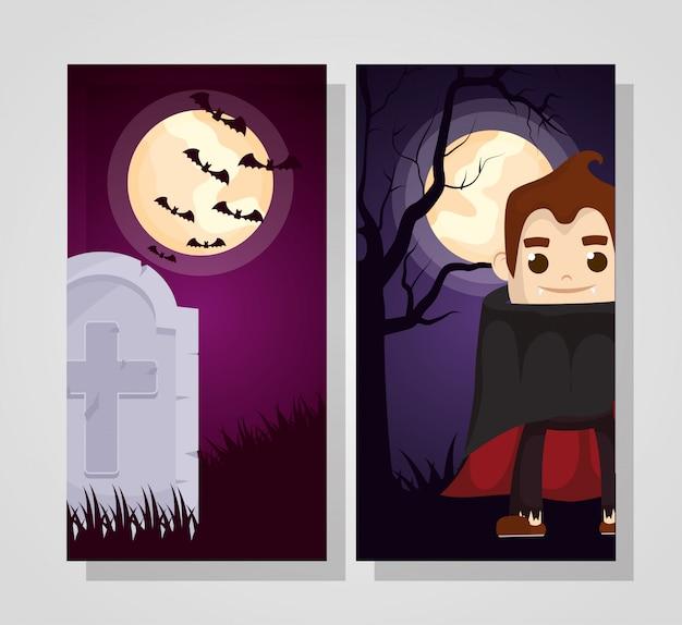 Dia das bruxas escuro com personagem drácula