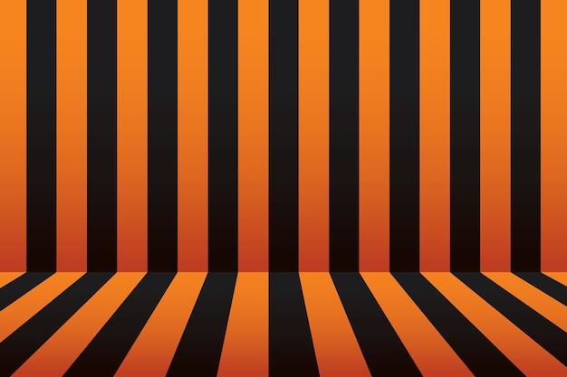 Dia das bruxas listra sala fundo preto e laranja