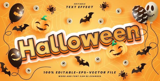 Dia das bruxas modelo de efeito de estilo editável de texto 3d vetor premium