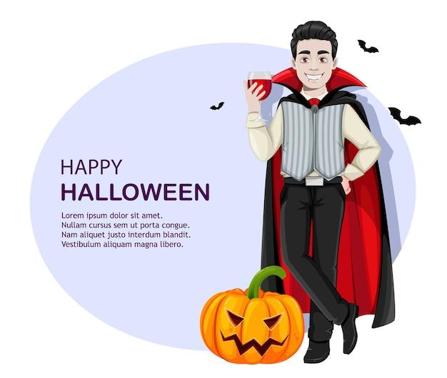 Dia das bruxas. personagem de desenho animado de vampiro alegre