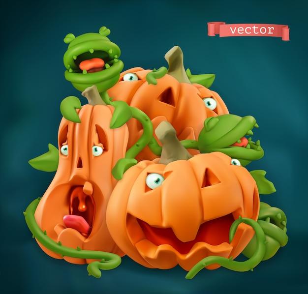 Dia das bruxas. personagens de desenhos animados de abóbora.