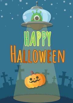 Dia das bruxas que cinzela as abóboras sequestradas pelo estrangeiro no ufo.