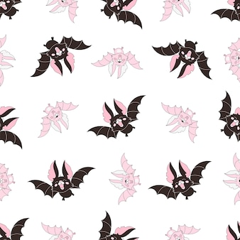 Dia das bruxas sem costura padrão bat cor-de-rosa