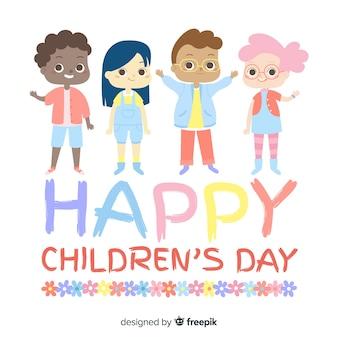Dia das crianças acenando fundo de amigos