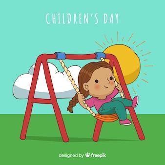 Dia das crianças, caricatura, balanço, fundo