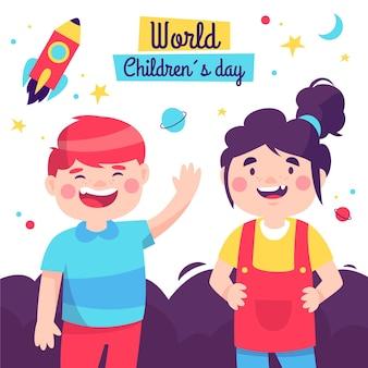 Dia das crianças com design desenhado à mão