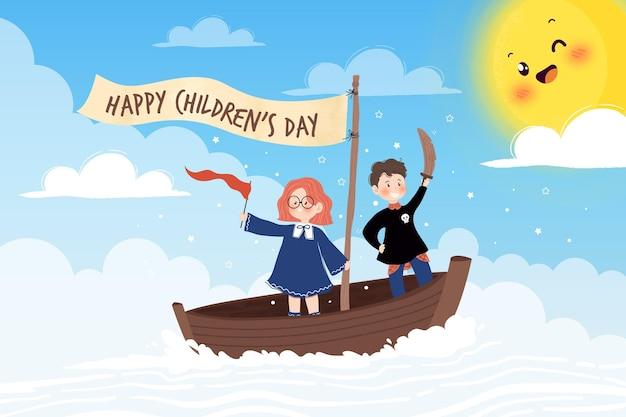 Dia das crianças desenhadas à mão brincando de piratas