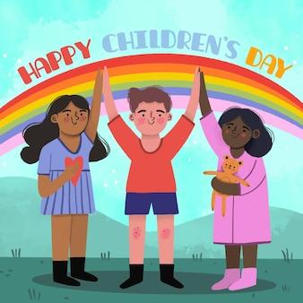 Dia das crianças desenhado à mão e arco-íris