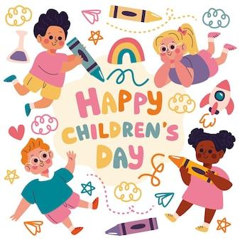 Dia das crianças desenhados à mão e desenhos
