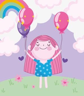 Dia das crianças, desenho animado menina com balões de arco-íris na ilustração vetorial de grama