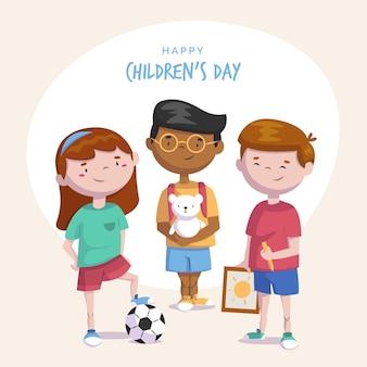 Dia das crianças do mundo plano