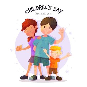 Dia das crianças em aquarela
