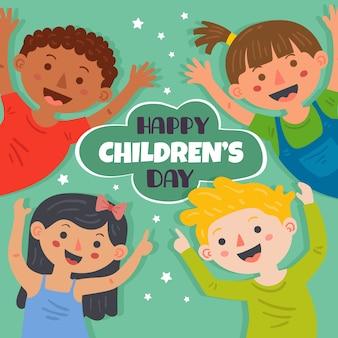 Dia das crianças em design plano