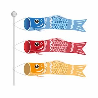 Dia das crianças japonesas koinobori, bandeiras de carpas de peixe na ilustração de três cores