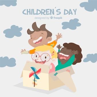 Dia das crianças jogando fundo de amigos