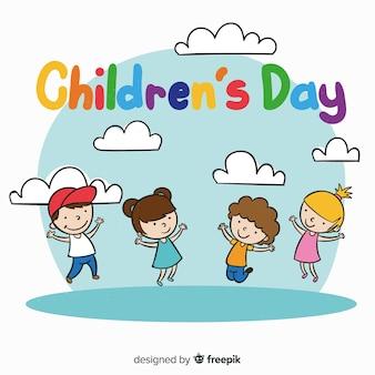 Dia das crianças mão desenhada meninas meninos fundo
