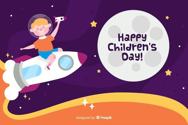 Dia das crianças plana com criança em um foguete espacial