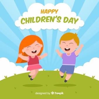 Dia das crianças, pular, crianças, fundo