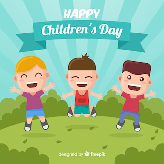 Dia das crianças, pular, meninos, fundo
