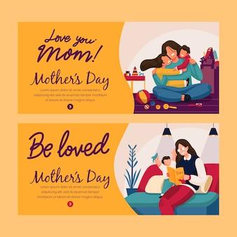 Dia das mães banners design plano