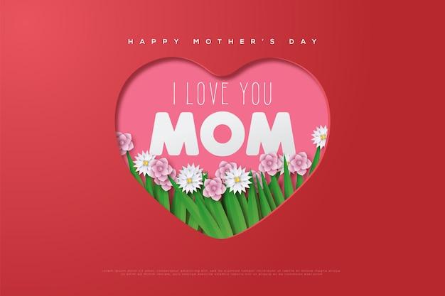 Dia das mães com a mãe escrevendo no meio de uma forma de amor coberta de folhas floridas.