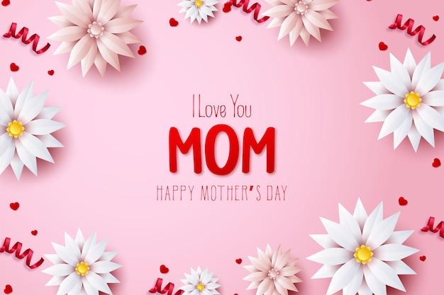 Dia das mães com as palavras eu te amo mãe em flores vermelhas e brancas.
