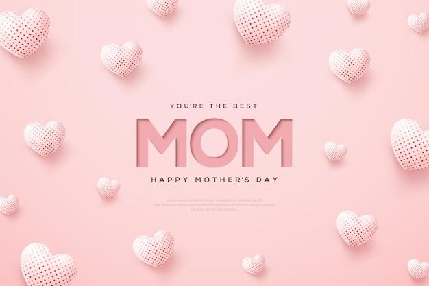 Dia das mães com balões brancos 3d.