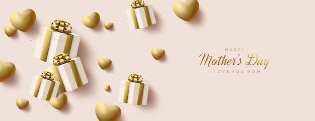 Dia das mães com caixa de presente de ouro e ilustração de balões.