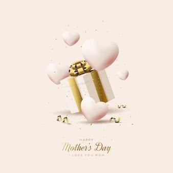 Dia das mães com caixas de presente e lindos balões.