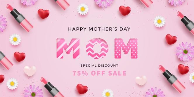 Dia das mães com corações vermelhos realistas, flores, batons e carta da mãe com padrão na superfície rosa.