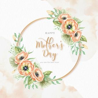 Dia das mães com flores de grinalda e fundo aquarela respingo