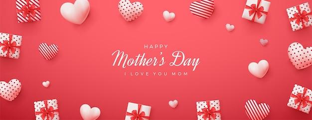 Dia das mães com fundo vermelho e ilustração 3d da caixa de presente.
