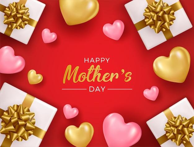 Dia das mães com ilustração 3d da caixa de presente.