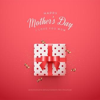 Dia das mães com ilustração de caixa de presente branca sobre fundo vermelho.