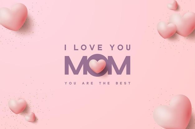 Dia das mães com ilustrações de texto e balões de amor.