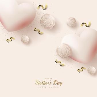 Dia das mães com lindos balões de amor rosa.