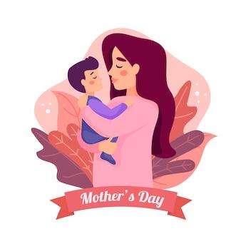 Dia das mães com mamãe e filho