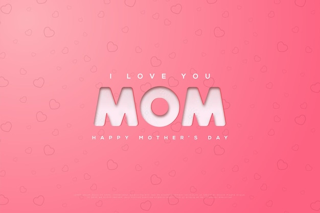 Dia das mães com simples te amo escrevendo em um rosa brilhante
