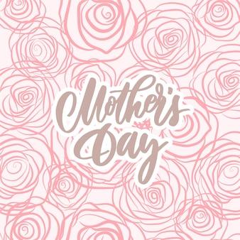 Dia das mães - composição de letras de mão com rosas