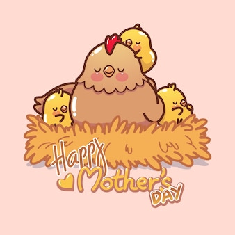 Dia das mães de galinha e pintinhos