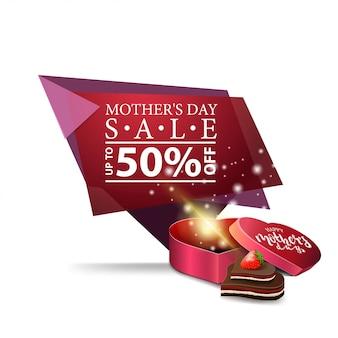 Dia das mães desconto banner geométrico moderno