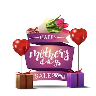 Dia das mães desconto banner moderno com buquê de tulipas