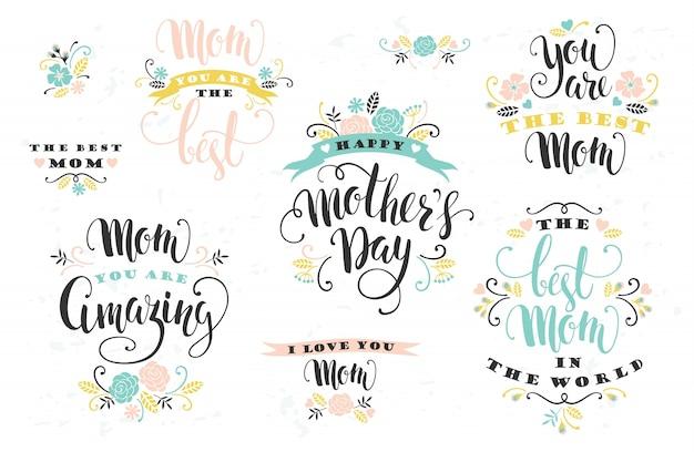Dia das mães. design de letras