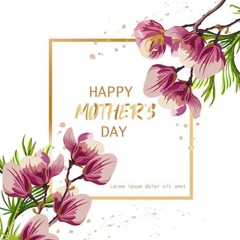 Dia das mães feliz com flores de magnólia
